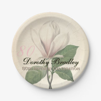 80th Birthday Party Vintage Magnolia Paper Plates 7 Inch Paper Plate