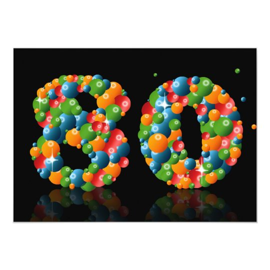 80th Birthday party, with bubbles and balls Card