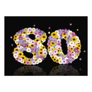 80th Birthday party with flowered letters Announcement