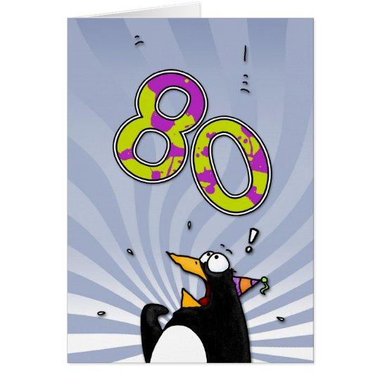 80th Birthday - Penguin Surprise Card