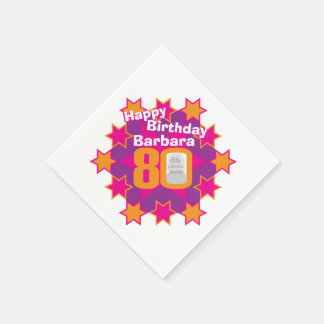 80th birthday photo and name pink star napkins paper napkin