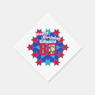 80th birthday photo and name red star napkins disposable napkins