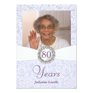"80th Birthday Photo Invitations Lavender Damask 5"" X 7"" Invitation Card"