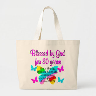 80TH BIRTHDAY PRAYER LARGE TOTE BAG