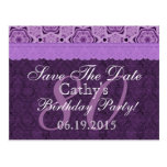 80th Birthday Save the Date Purple Antique Lace Postcard