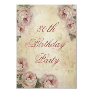 80th Birthday Shabby Chic Roses and Lace 13 Cm X 18 Cm Invitation Card