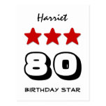 80th Birthday Star Red Black and White Z508 Postcard
