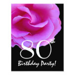 80th Birthday Template Pink Rose For Her W416 11 Cm X 14 Cm Invitation Card