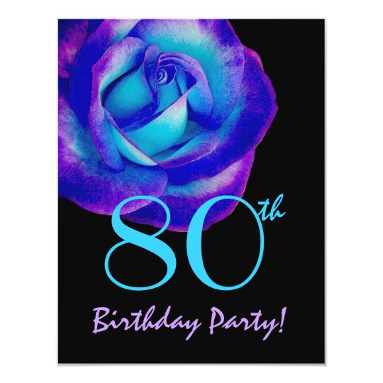 80th Birthday Template Purple and Blue Rose W243