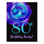 80th Birthday Template Purple and Blue Rose W243 11 Cm X 14 Cm Invitation Card