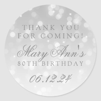80th Birthday Thank You Silver Bokeh Sparkle Light Classic Round Sticker