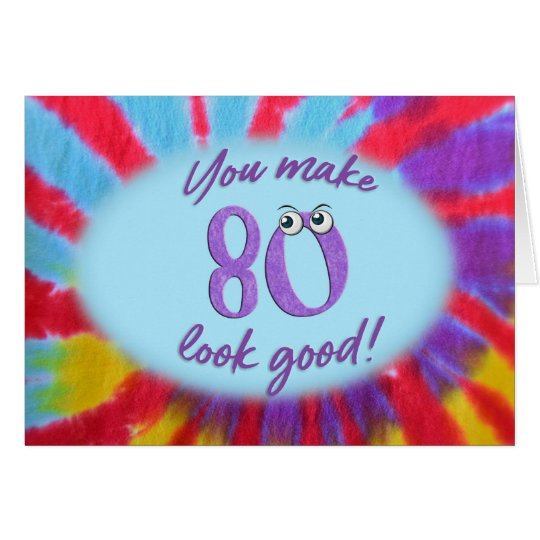 80th birthday tie dye frame card