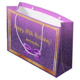80th Birthday Ultra Violet Pink With Faux Glitter Large Gift Bag