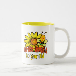 80th Birthday - Unbelievable at 80 Years Old Two-Tone Coffee Mug