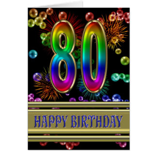 80th Birthday with rainbow bubbles and fireworks Card