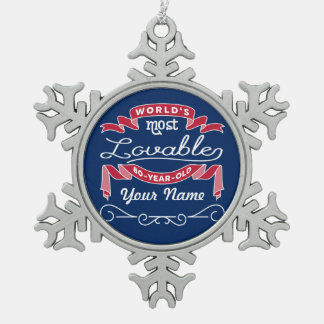 80th Birthday World's Most Lovable 80-Year-Old Pewter Snowflake Decoration