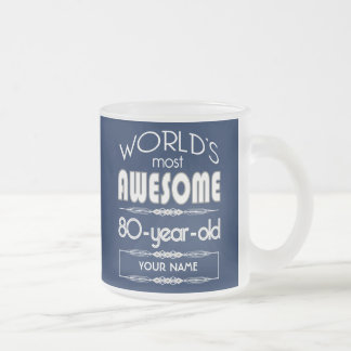 80th Birthday Worlds Best Fabulous Dark Blue Frosted Glass Mug