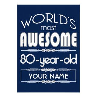 80th Birthday Worlds Best Fabulous Dark Blue Custom Invitation