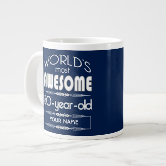 80th Birthday Worlds Best Fabulous Dark Blue Jumbo Mug