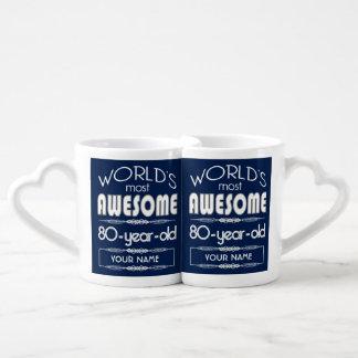 80th Birthday Worlds Best Fabulous Dark Blue Couple Mugs