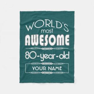 80th Birthday Worlds Best Fabulous Dark Green Fleece Blanket