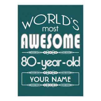 80th Birthday Worlds Best Fabulous Dark Green Personalized Announcement