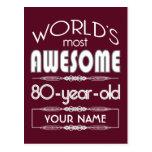 80th Birthday Worlds Best Fabulous Dark Red
