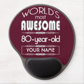 80th Birthday Worlds Best Fabulous Dark Red Gel Mousepad