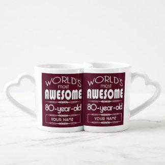80th Birthday Worlds Best Fabulous Dark Red Lovers Mug
