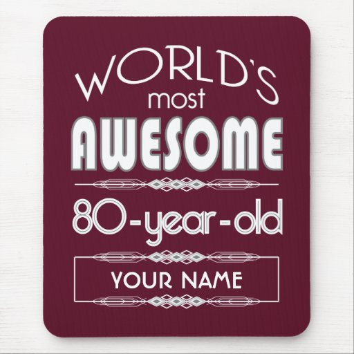 80th Birthday Worlds Best Fabulous Dark Red Mouse Pads
