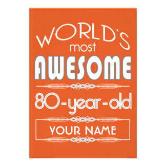 80th Birthday Worlds Best Fabulous Flame Orange Announcements