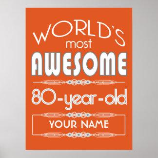 80th Birthday Worlds Best Fabulous Flame Orange Print