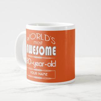 80th Birthday Worlds Best Fabulous Flame Orange Extra Large Mugs