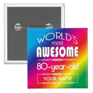80th Birthday Worlds Best Fabulous Rainbow Button
