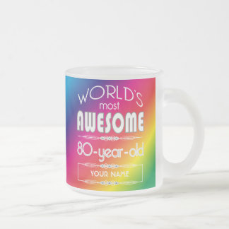 80th Birthday Worlds Best Fabulous Rainbow Frosted Glass Mug