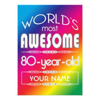 80th Birthday Worlds Best Fabulous Rainbow Custom Invites
