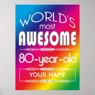 80th Birthday Worlds Best Fabulous Rainbow Print