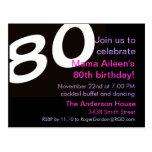 80th Eightieth Birthday Party Postcard Invitation