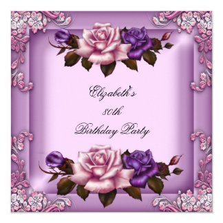 80th Elegant Lilac Pink Purple Roses Birthday 13 Cm X 13 Cm Square Invitation Card