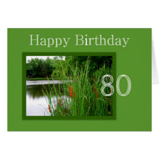 80th Happy Birthday Cat Tails on Pond Card