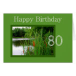 80th Happy Birthday Cat Tails on Pond Cards