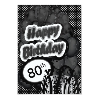 80th Milestone Birthday 13 Cm X 18 Cm Invitation Card
