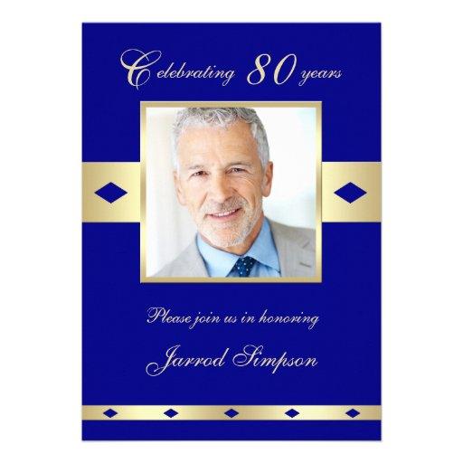 80th Photo Birthday Party Invitation - Navy 80 Invitation
