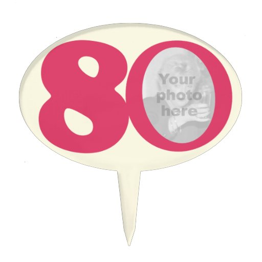 80th photo fun hot pink birthday cake topper