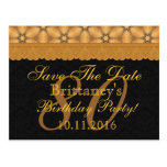 80th Save the Date Birthday Gold Black Lace
