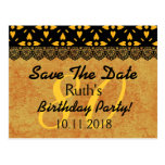 80th Save the Date Birthday Gold Black Lace V7 Postcard