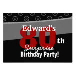 80th Surprise Birthday Black White Horizontal Personalized Announcement