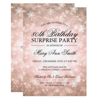 80th Surprise Birthday Copper Winter Wonderland Card