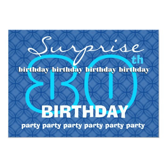 80th SURPRISE Birthday Modern Blue Circles W489 Card