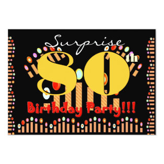 80th SURPRISE Birthday Party CandlesTemplate Card